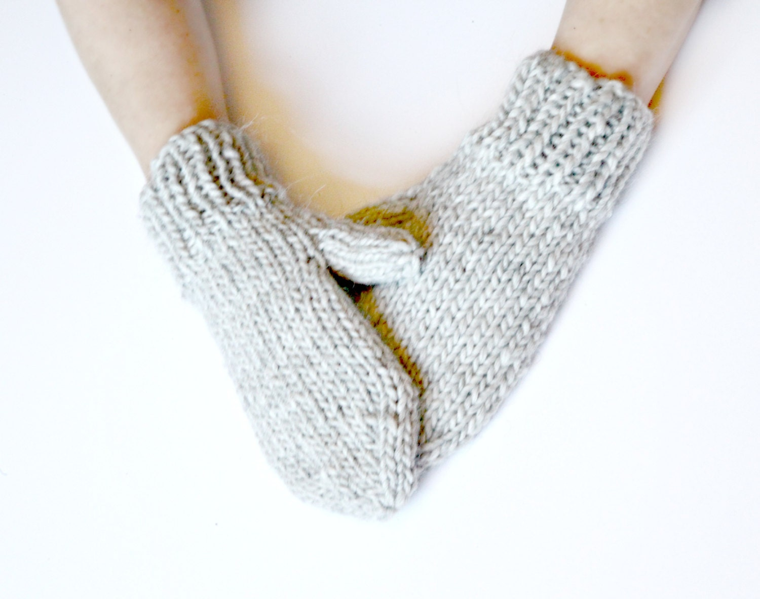 Soft Grey Hand Knitted Mittens - Women's Mittens - Wool Mittens - wildhoneypieboutique