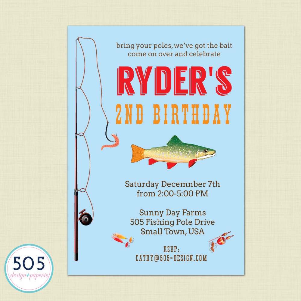 Gone fishing invitation boys fishing party by 505design on for Fishing birthday party invitations