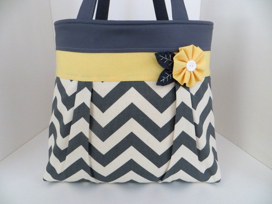 Popular items for grey yellow tote bag on Etsy