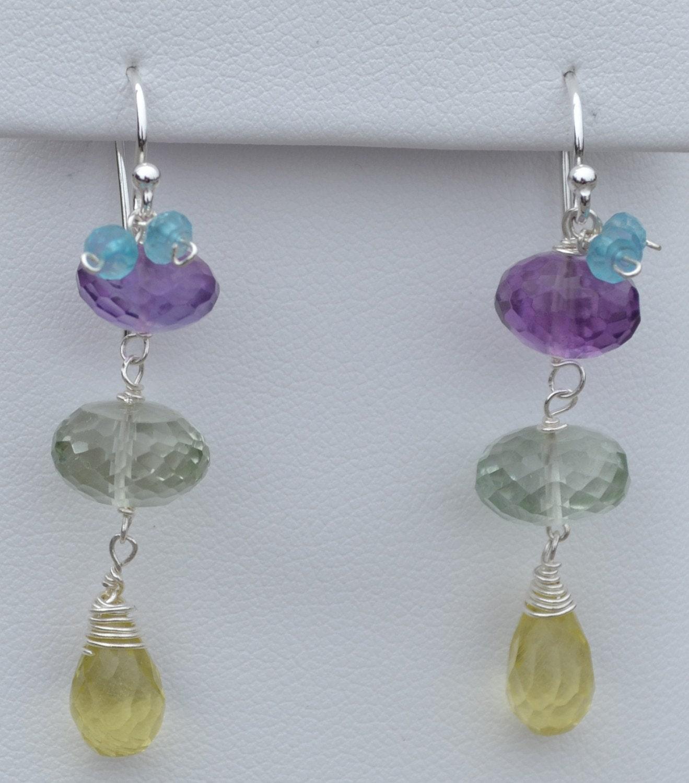 Couleur Vive Jewelry Creations KARINA Praesolite and Amethyst in Silver Earrings