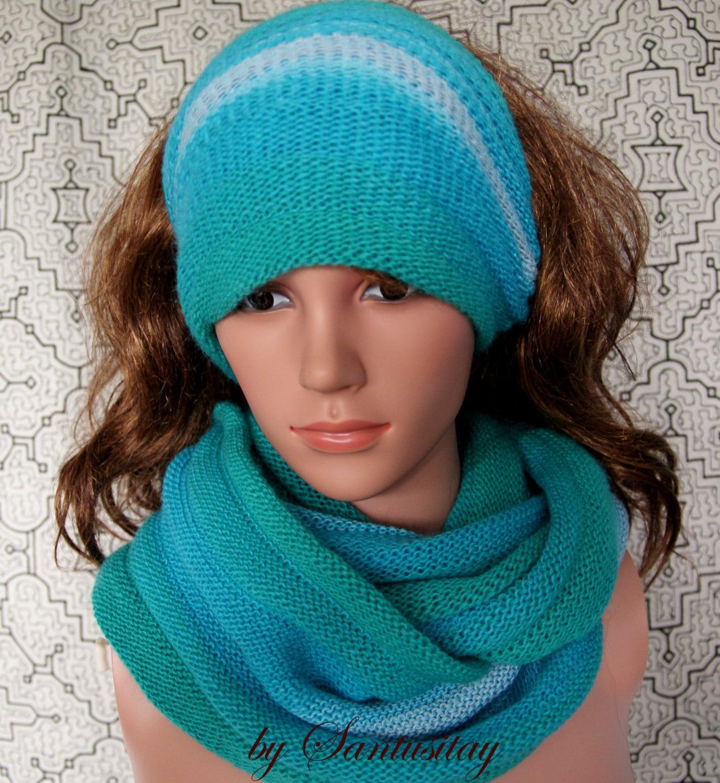 Exclusive Warm shawl scarf wrap cowl collar band  Alpaca wool  christmas gift multicolour shadows of blue  raspberry pink