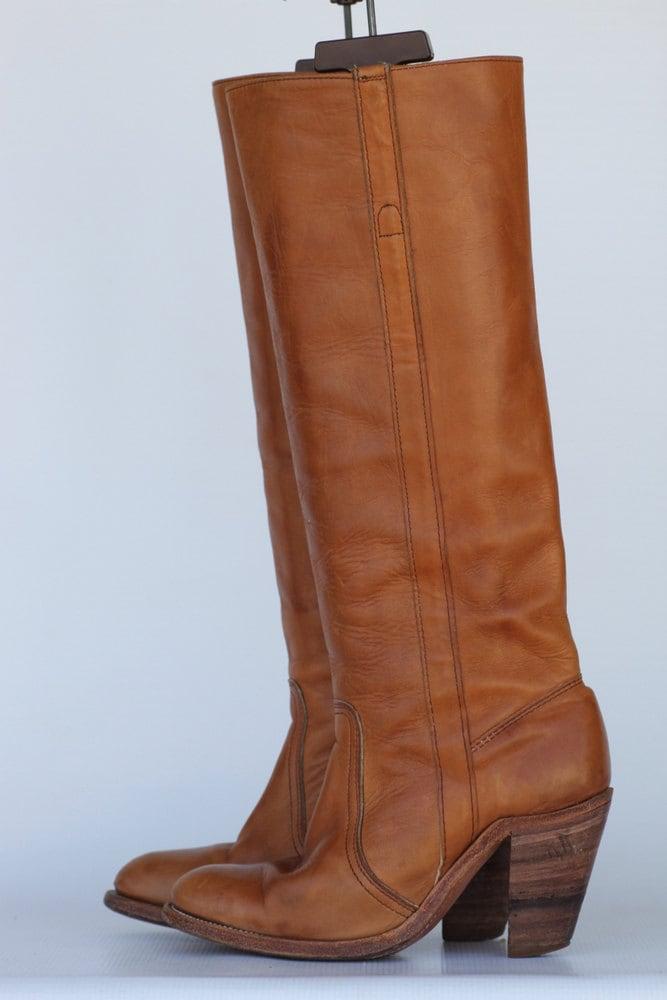 frye boho leather high heel camel by uniqueboutlque