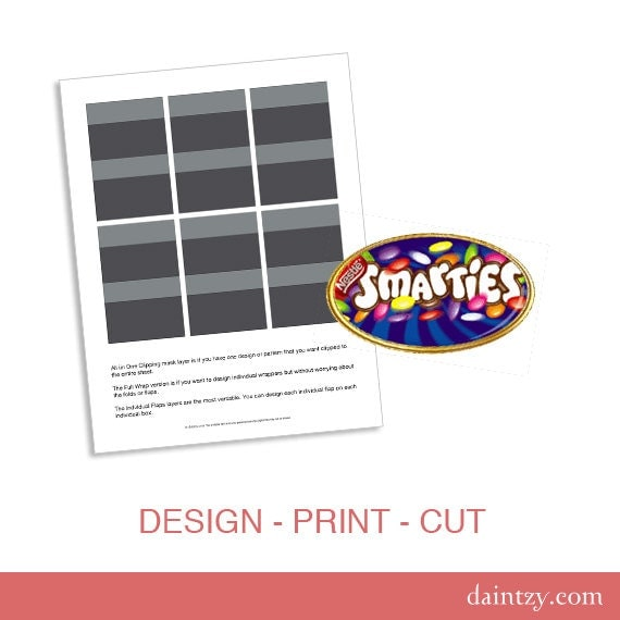 Instant Download: Smarties Mini Chocolate Favor Wrapper by ... Smarties Box Design