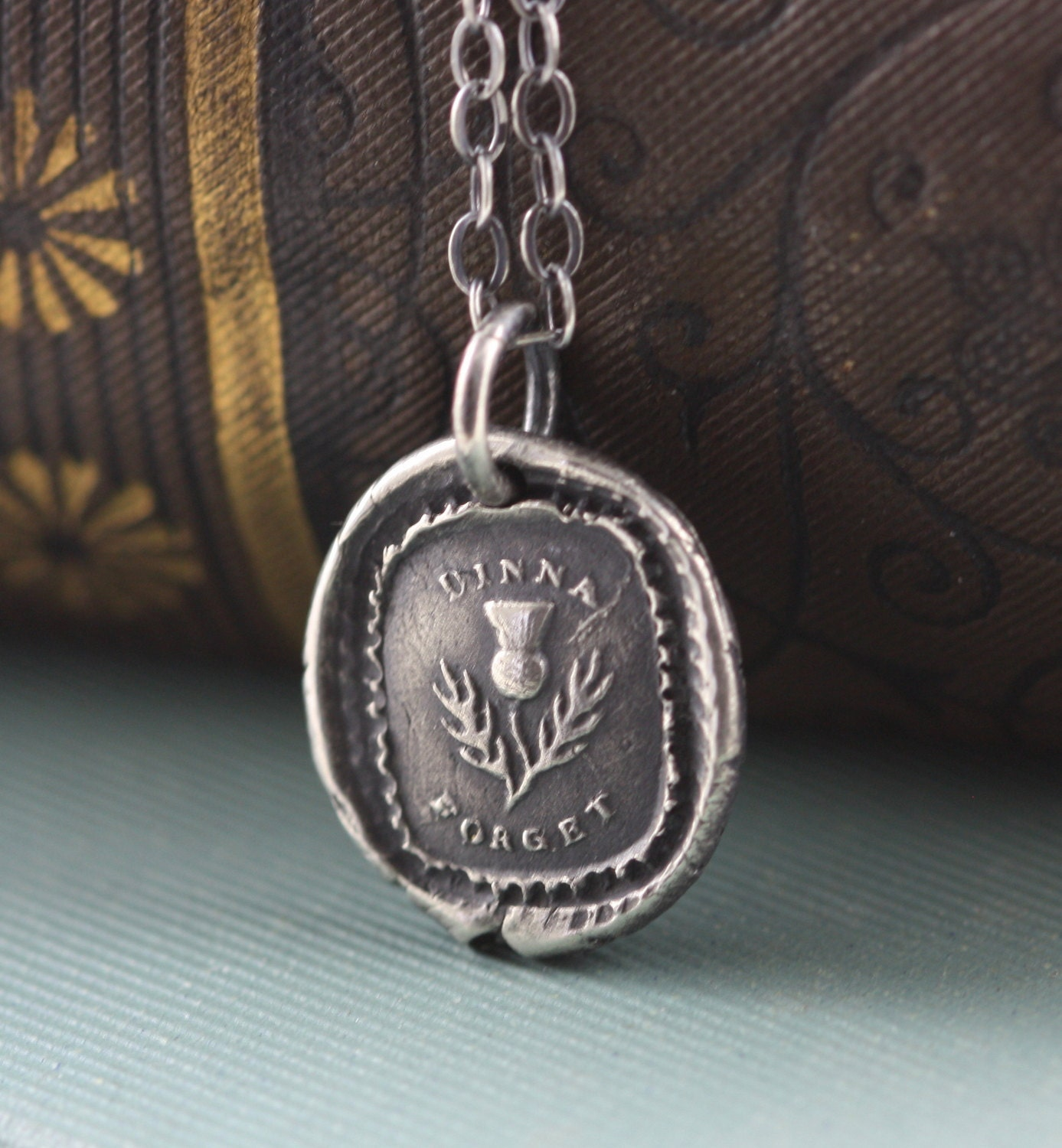 Wax Seal Necklace -  Scottish Thistle -  Remembrance - Sterling Silver -  Dinna Forget Handmade - gooseberrystudio