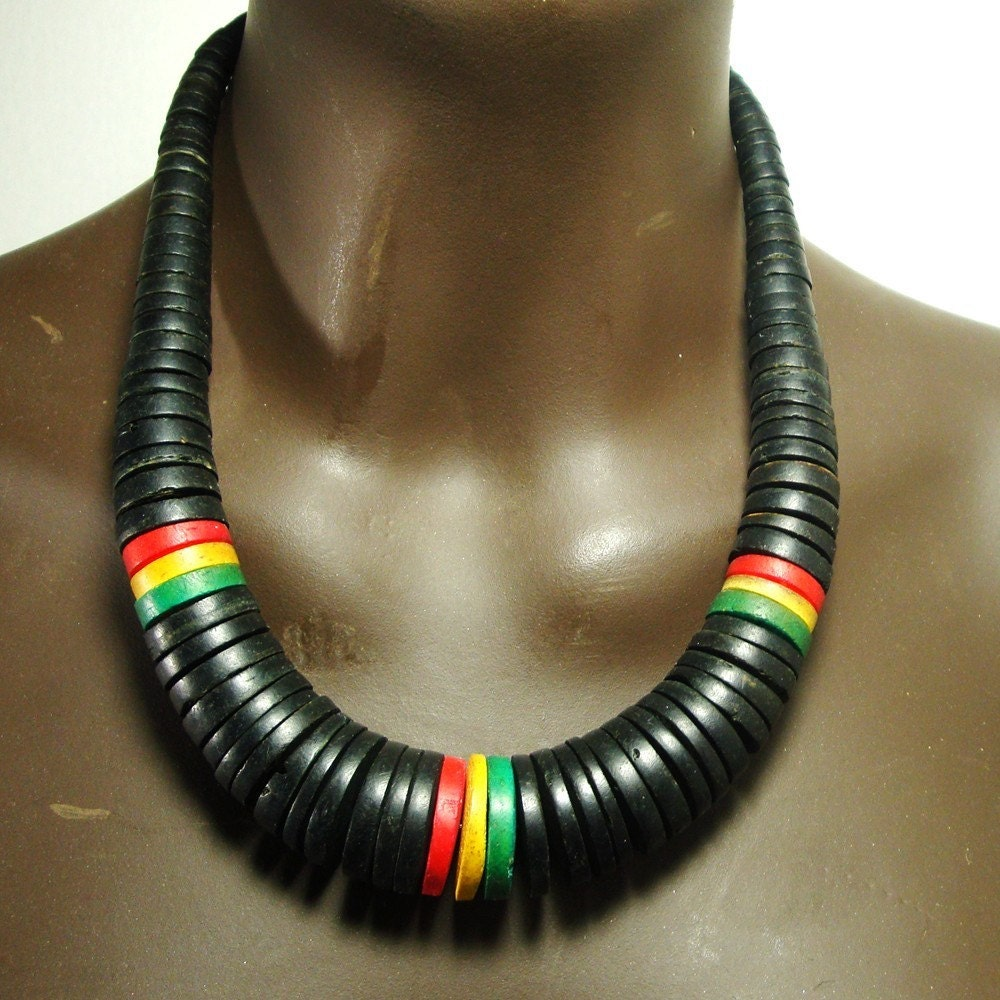 Vintage Rasta Colors Necklace S Wood Or Coco Shell Beads In Black