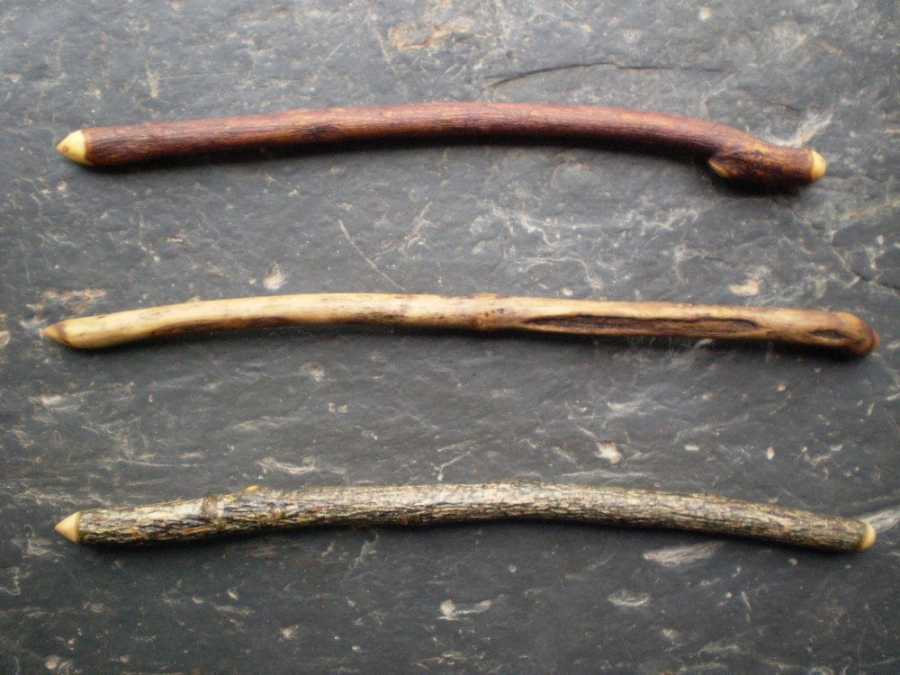 3 natural wood wands yew elder holly for winter by for Wooden elder wand