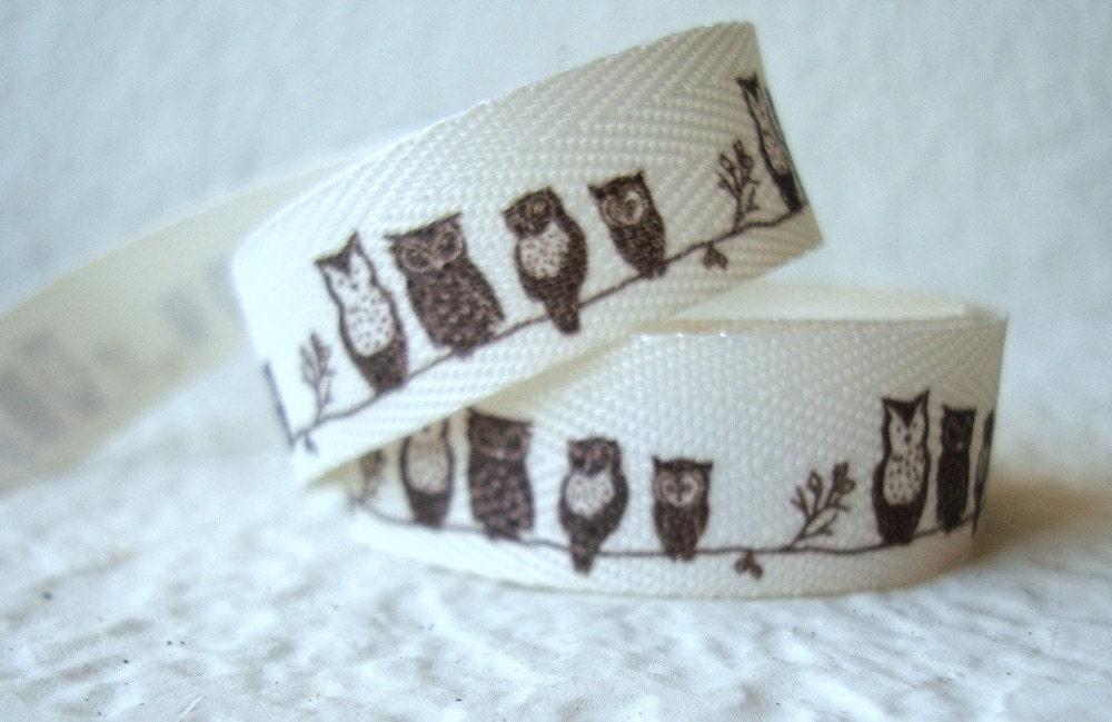 Owls on Branch Cream 5/8-inch Twill-1 yard