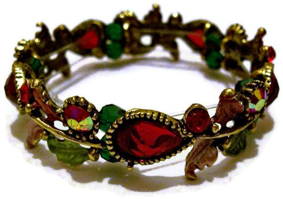 Red Floral Bracelet Jewelry - Christmas Red Bracelet