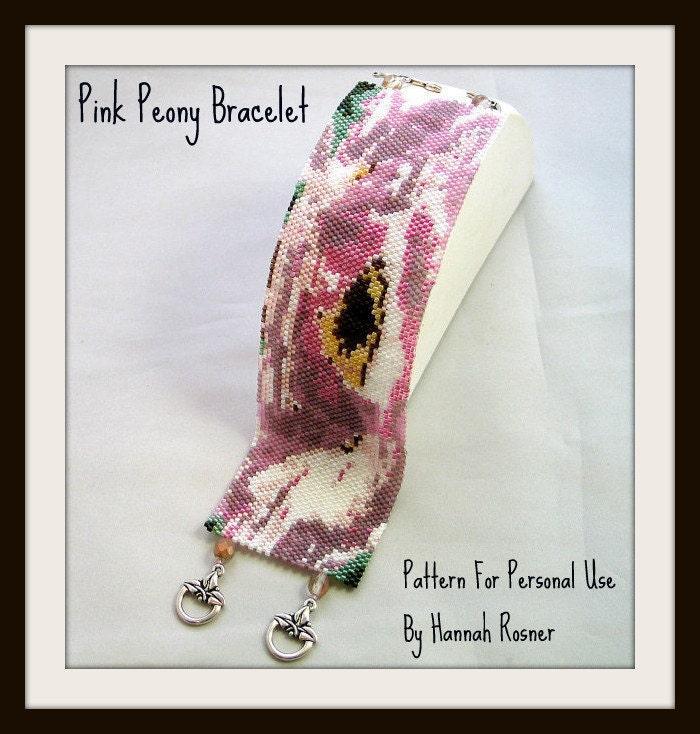 Hannah Rosenr cuff bracelet bead pattern peyote stitch Peony