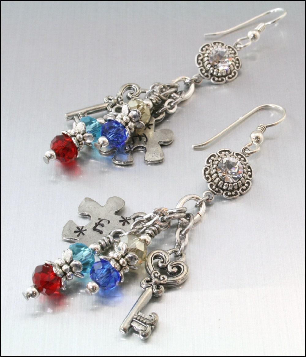 autism awareness silver dangle earrings by blackberrydesigns