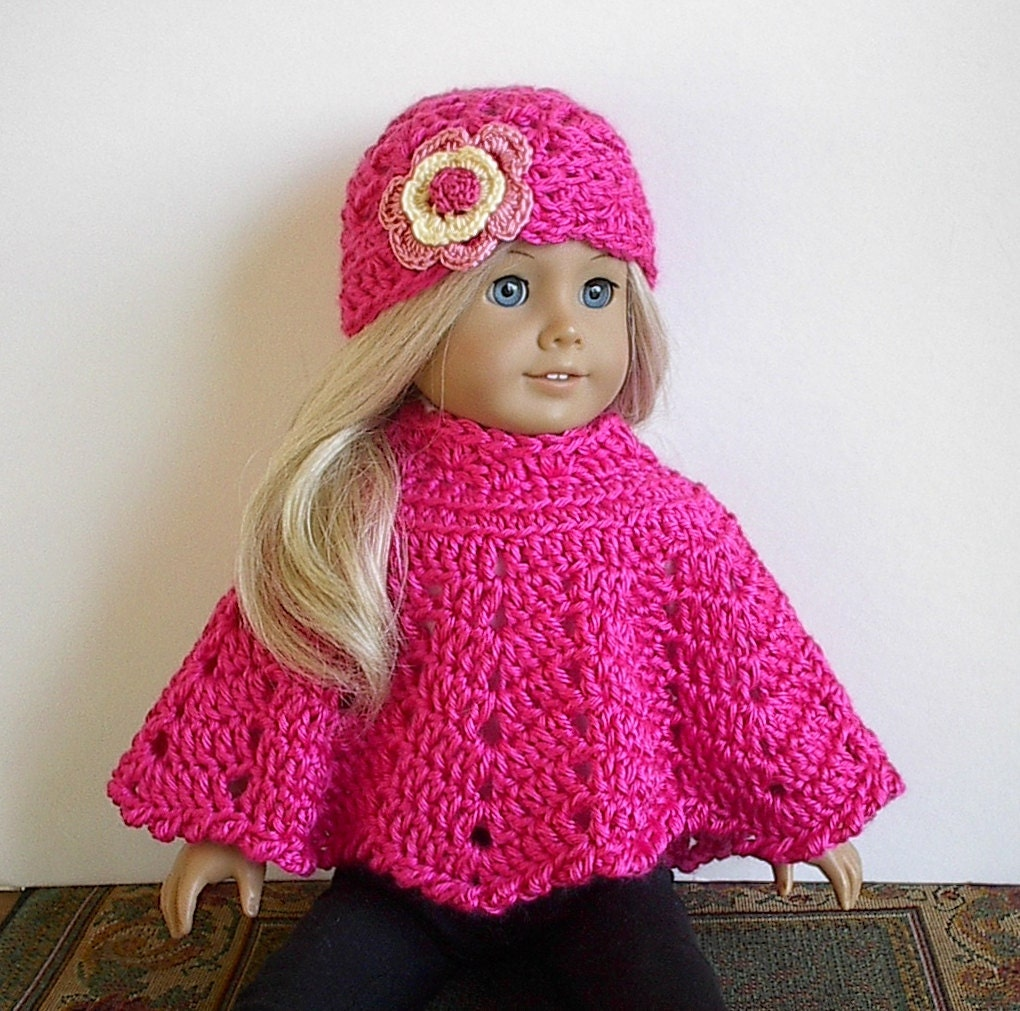 American Girl Doll Clothes: Crocheted Poncho Set by ...