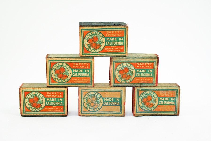 Vintage Match Boxes, Vintage Golden State Safety Matches, California Oranges, Vintage Advertising, Orange and Green Vintage Match Boxes - BlueMoonCollectibles