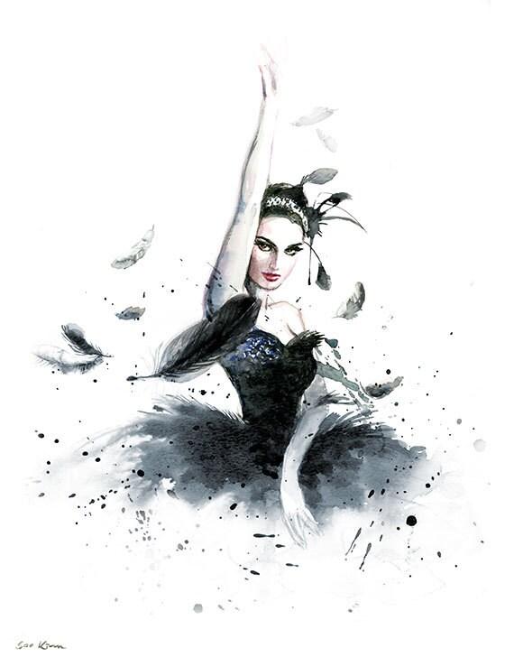 Watercolor Painting Ballerina Natalie Portman By Sookimstudio