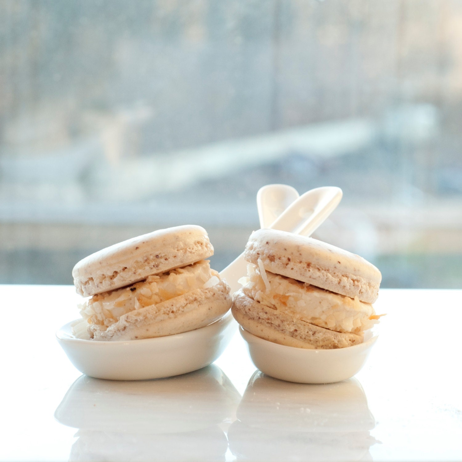 toasted coconut mallow macarons (12) - FluffedUpDesserts