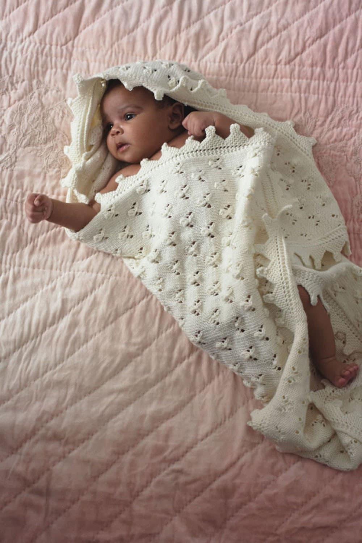 baby knitting pattern for  baby shawl blanket dk yarn