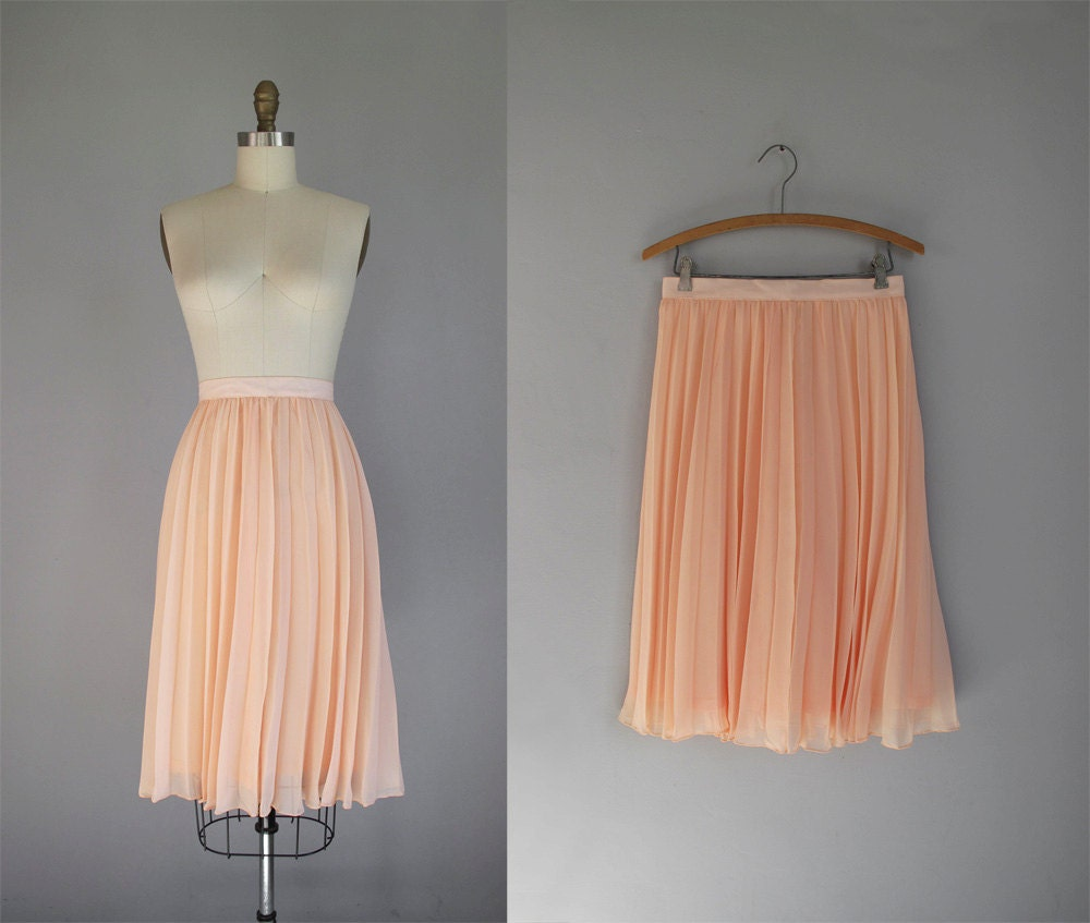 vintage blush pink chiffon pleated mid length skirt by