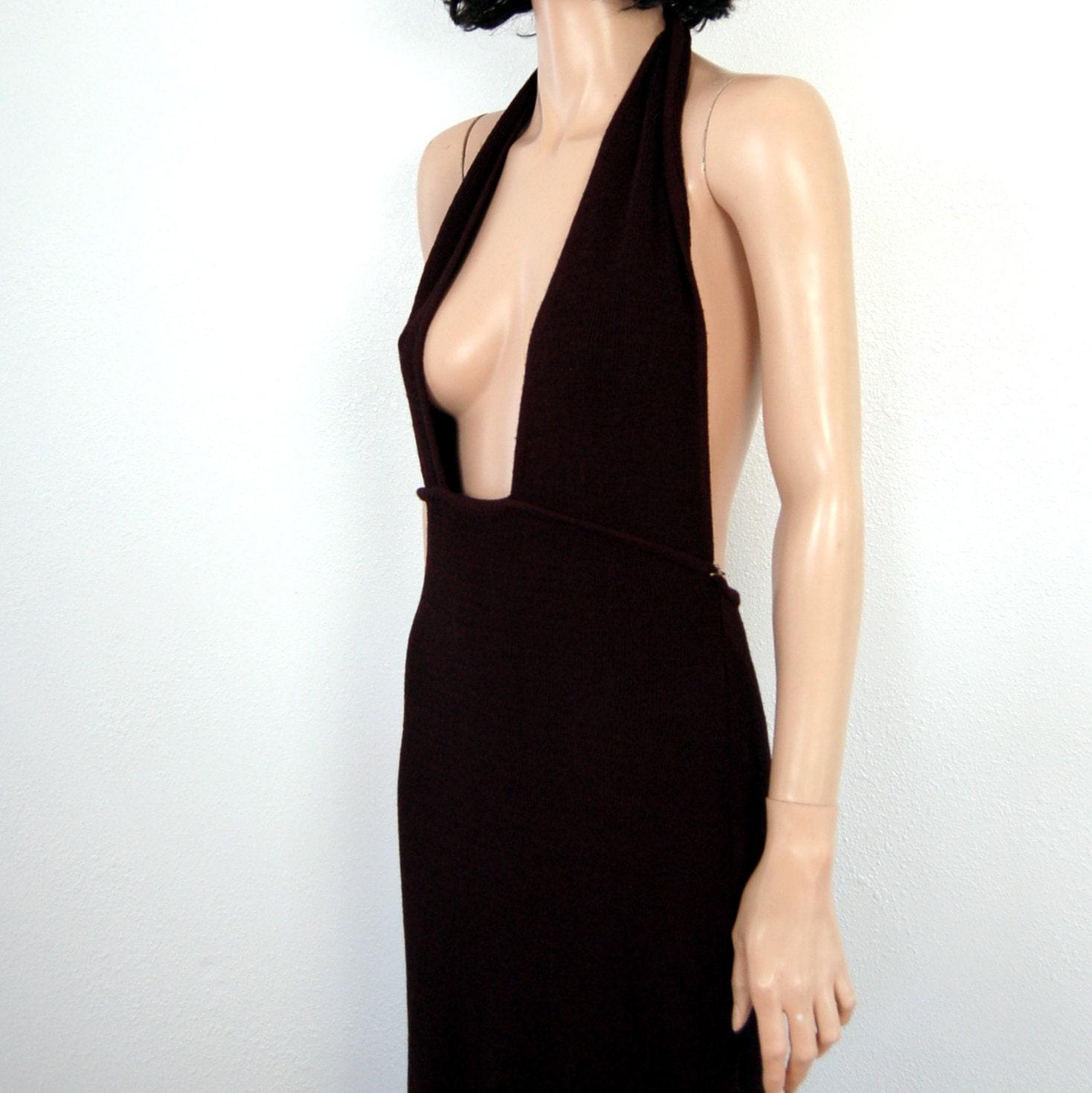 Black backless skater dress