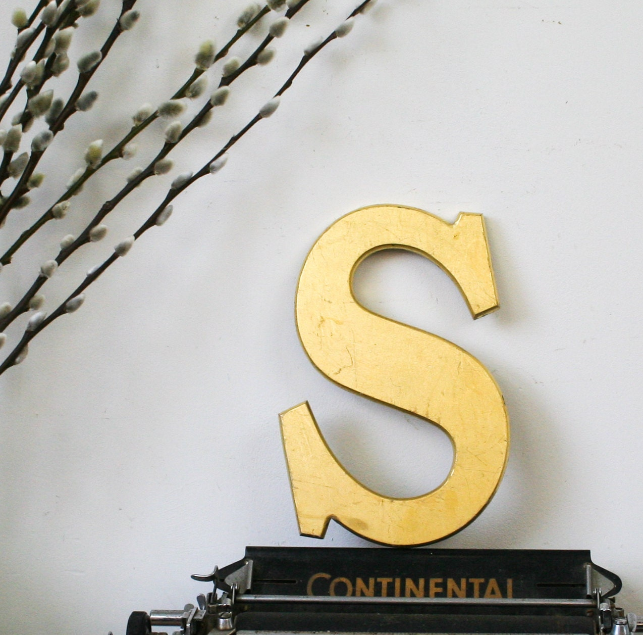 Vintage Shop letter S, 24 carat gold leaf, antique signage - BonnieandBell