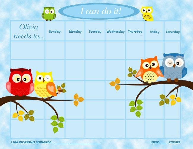 PRINTABLE Personalized Children's Reward Chart / Chore Chart - Owls ...
