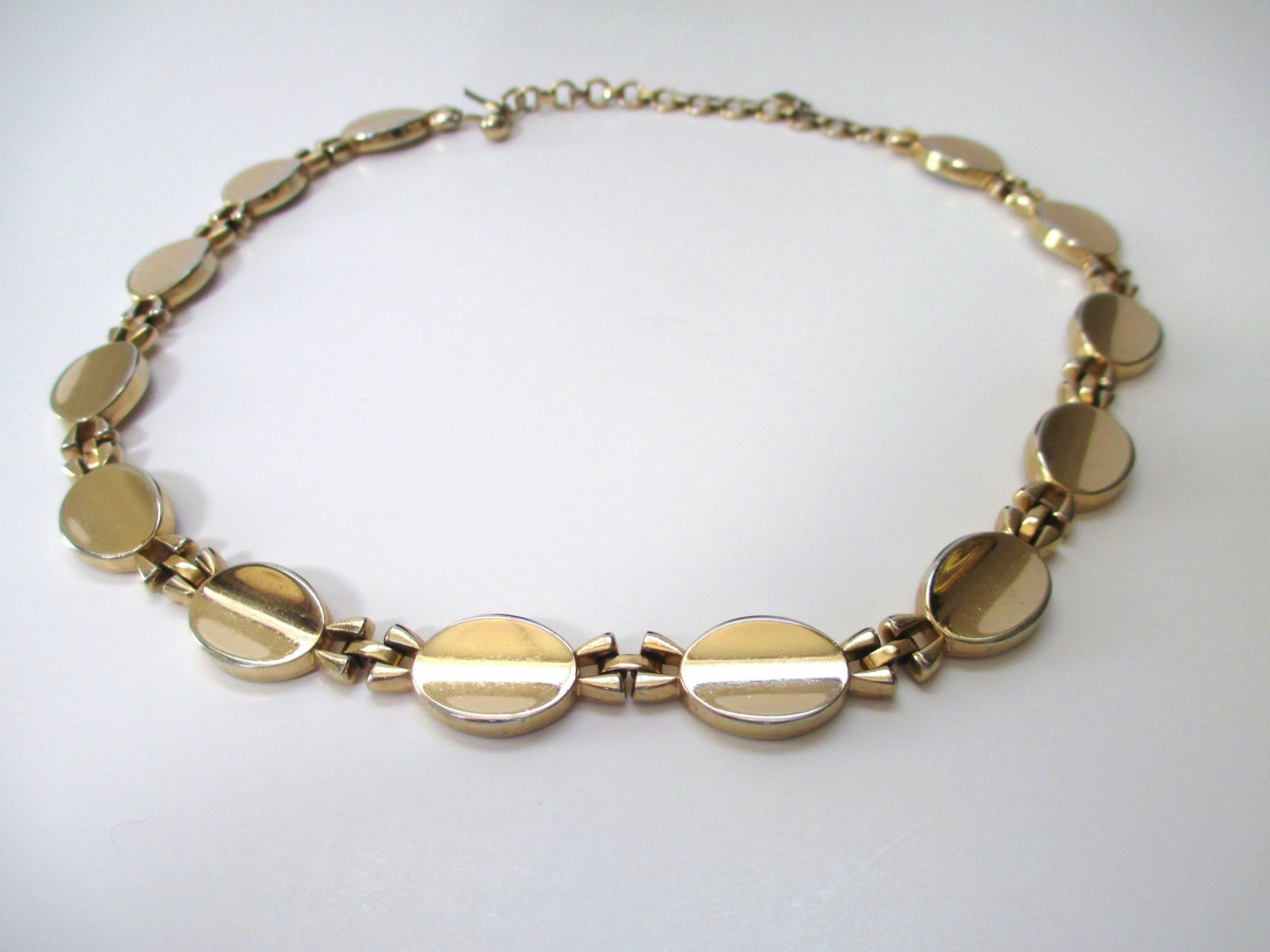 vintage monet choker gold tone link necklace by