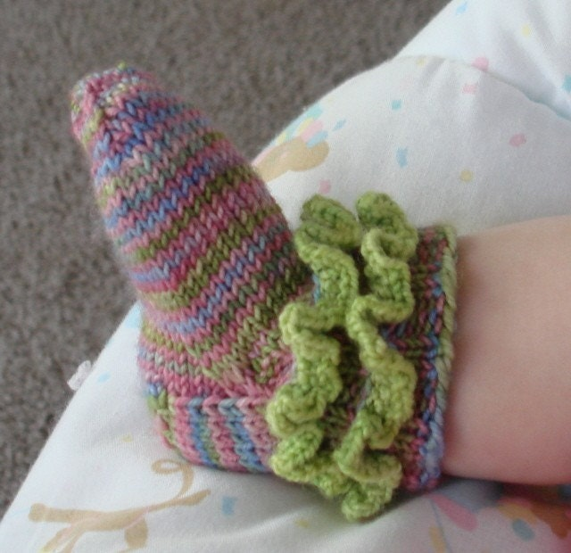 Knitting Pattern For Infant Socks : Knit Pattern Rufflicious Baby Bootie/Socks by KalamazooKnits