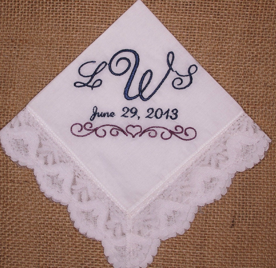 embroidered bridal handkerchief by inspiredstitches on etsy