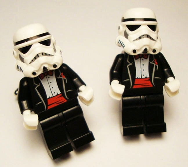 Full body Storm Trooper black with red wedding tuxedo LEGOS on silver toned
