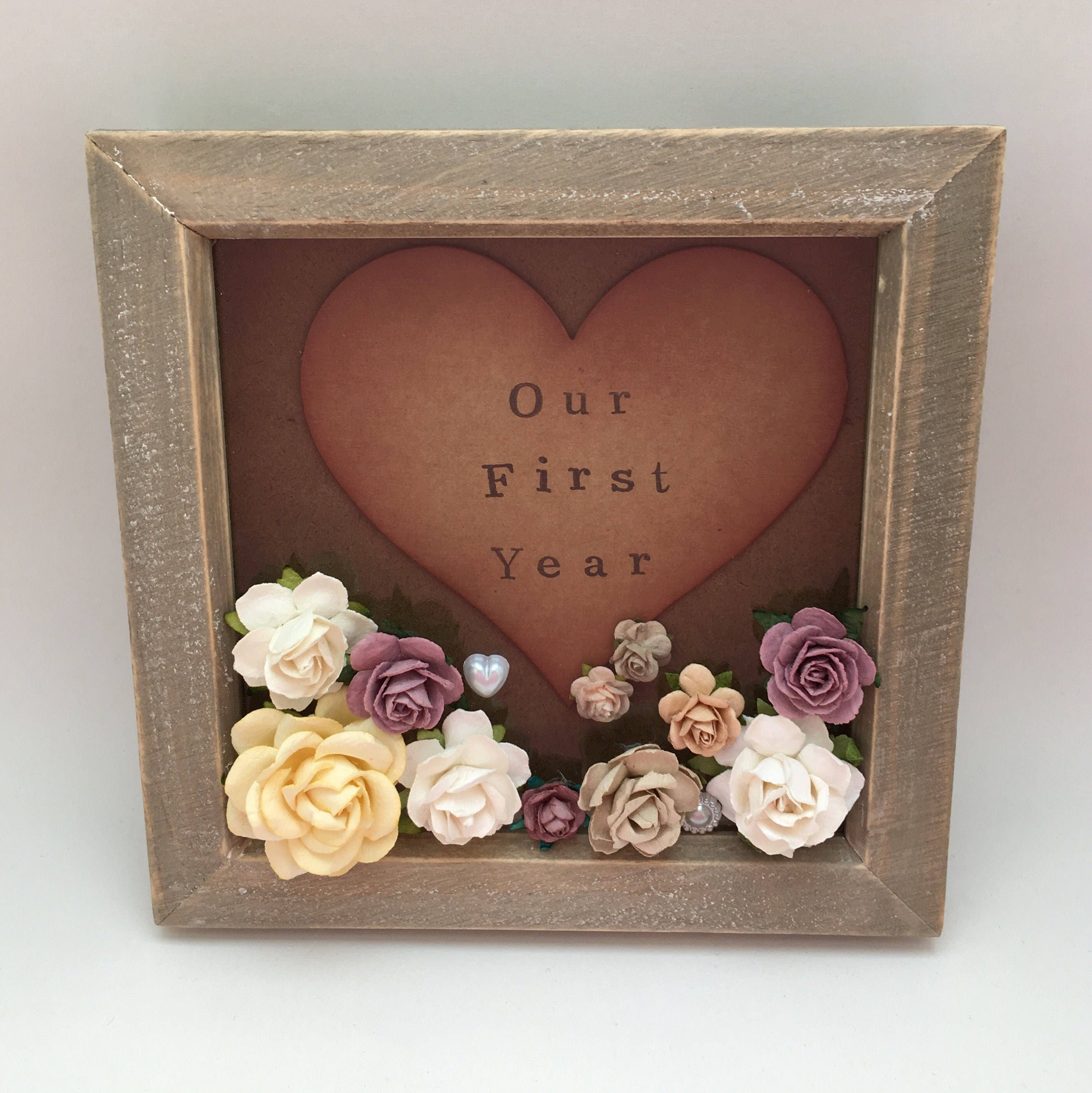 Our first year anniversary gift 1st first paper wedding anniversary gift for her Gift for a wife shabby chic decor paper flowers 3d picture