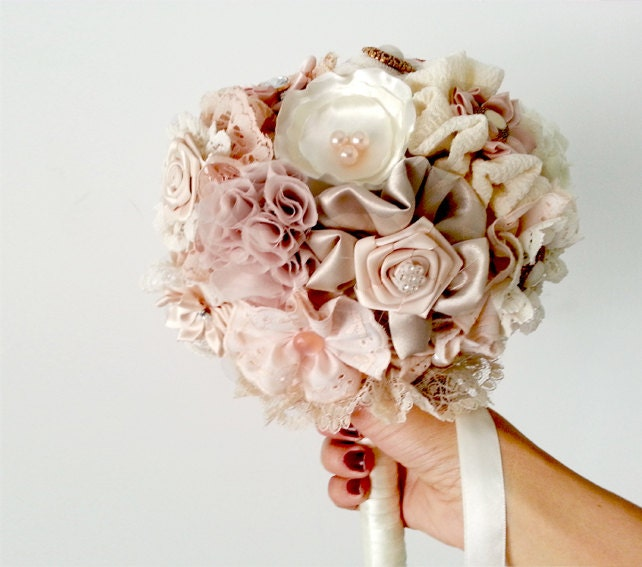 Bridal Bouquet Materials : Blush wedding bouquet fabric bridal by mysecretface