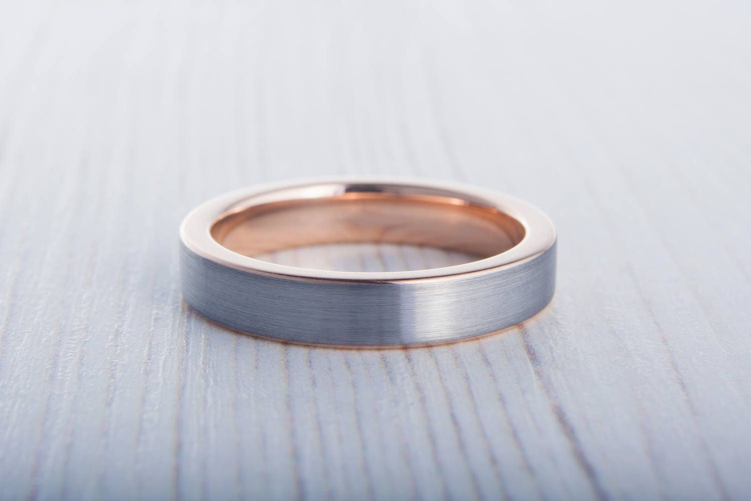 4mm 14K Rose Gold and Titanium Wedding ring band for men and woman