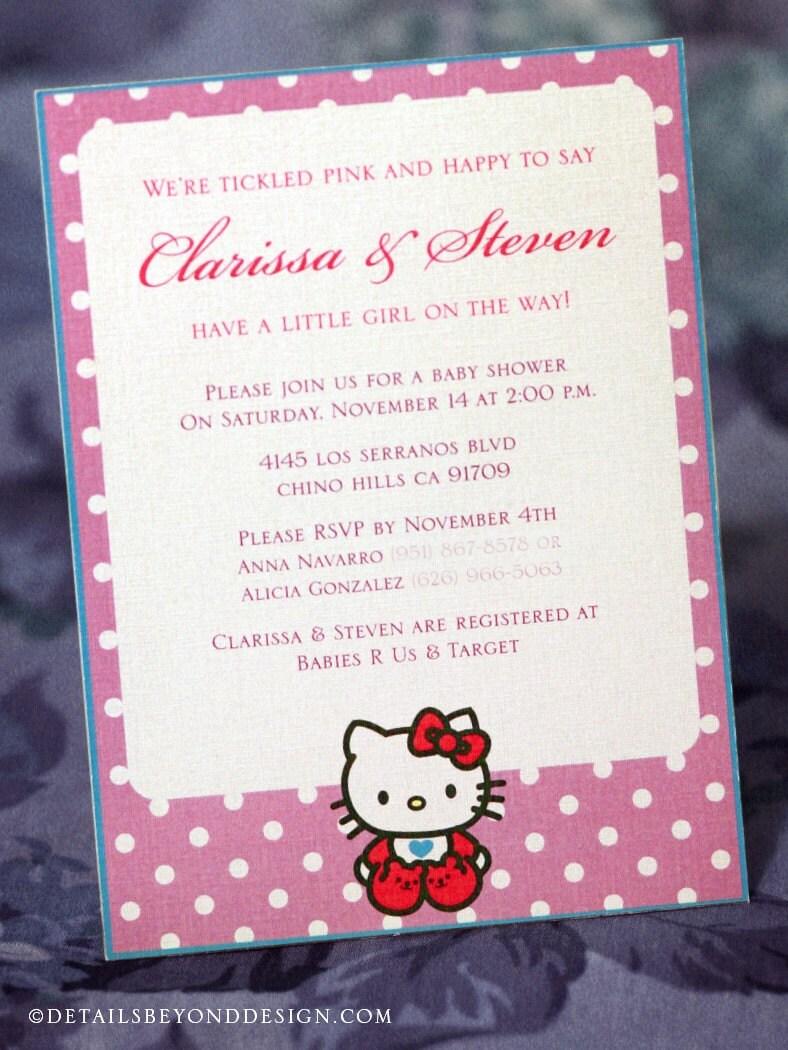 Purple Hello Kitty Baby Shower Invitation By