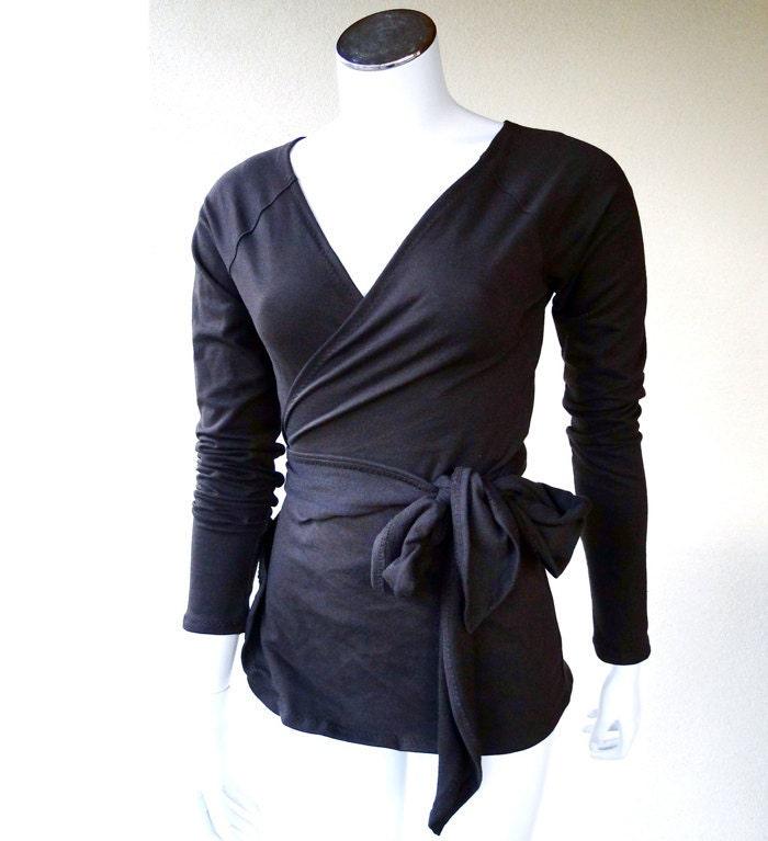 romantic blouse - long sleeve tunic shirt - organic clothes for women
