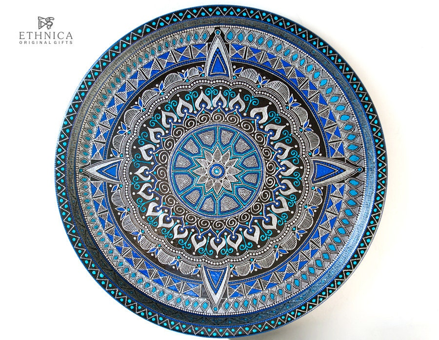 Blue star - hand painted serving tray - NikaEthnica