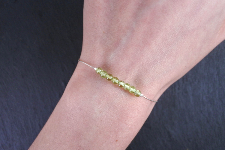Peridot Bracelet Sterling Silver Gemstone Bracelet Peridot Jewelry Minimalist Bracelet Thin Gemstone Bracelet Peridot Jewelry
