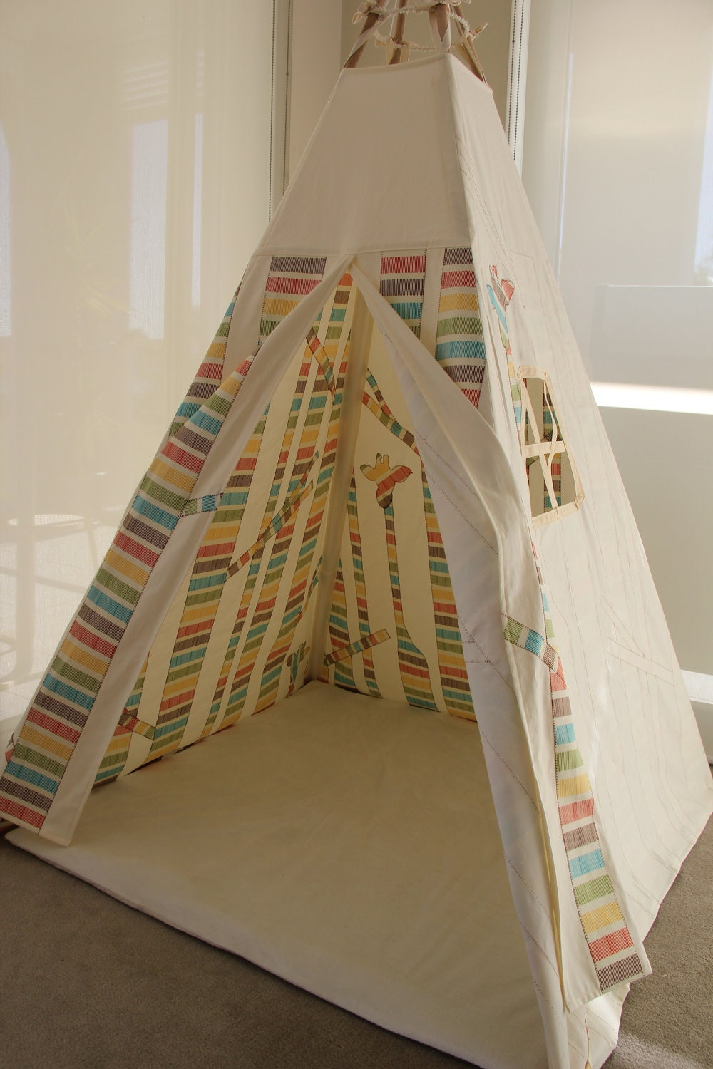 Teepee Tent Hideaway - Multicolour Stripe Secret Forest Play Tent with giraffes in the trees