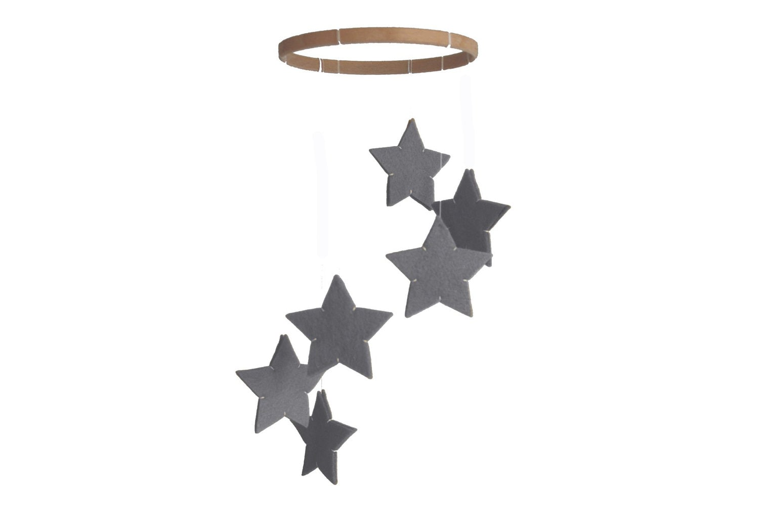 Silver Star Mobile - Gray Grey - Modern Baby Crib Mobile - Nursery Decor - littlenestbox