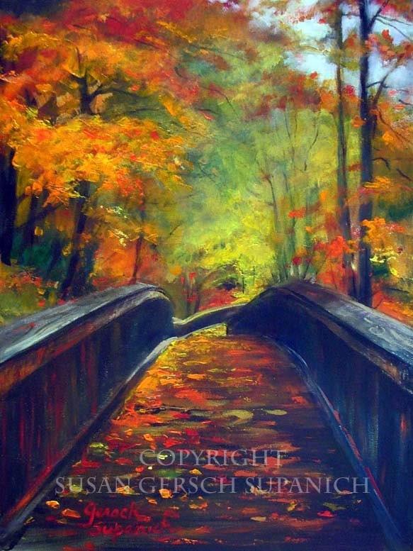 "Art Print  ""Michigan Trail"" colorful art autumn landscape painting 11 x 14 print - Susan Gersch Supanich"