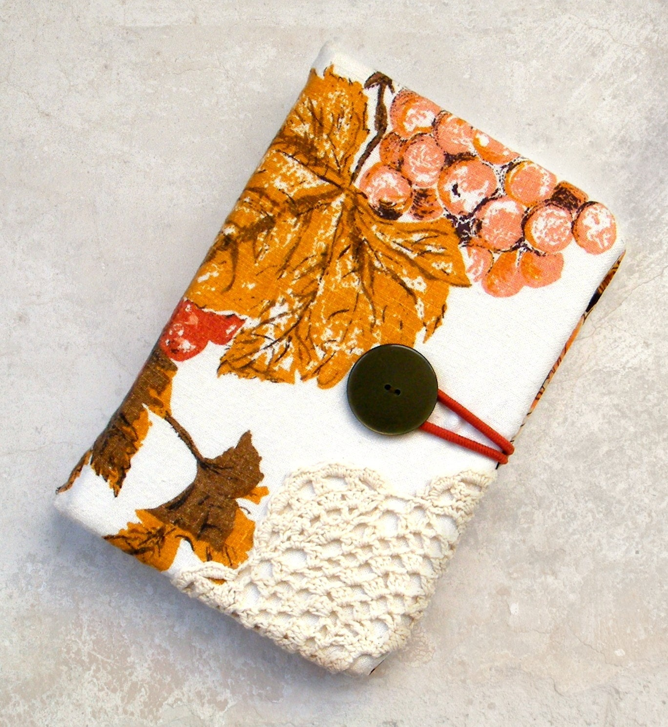 Vintage Fall Leaves Kindle Cover Book Style Kindle Fire Case Hard Side Ereader Case Shabby Chic Doily Kindle Keyboard Paperwhite Touch - IsItNoonYet