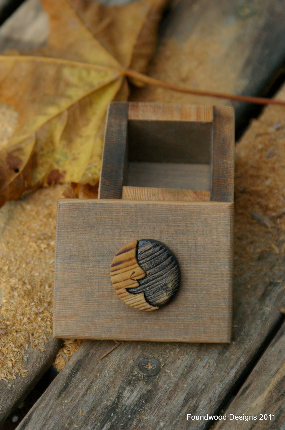 Small rustic wooden box with moonface on lid by - Small rustic wooden boxes ...