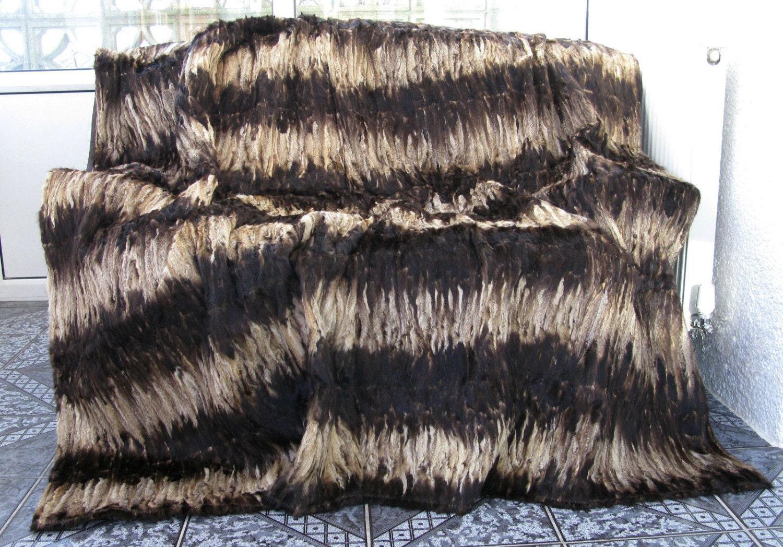 Luxury genuine MINK paws fur throw blanket natural colours size 220cm x 200cm 505a
