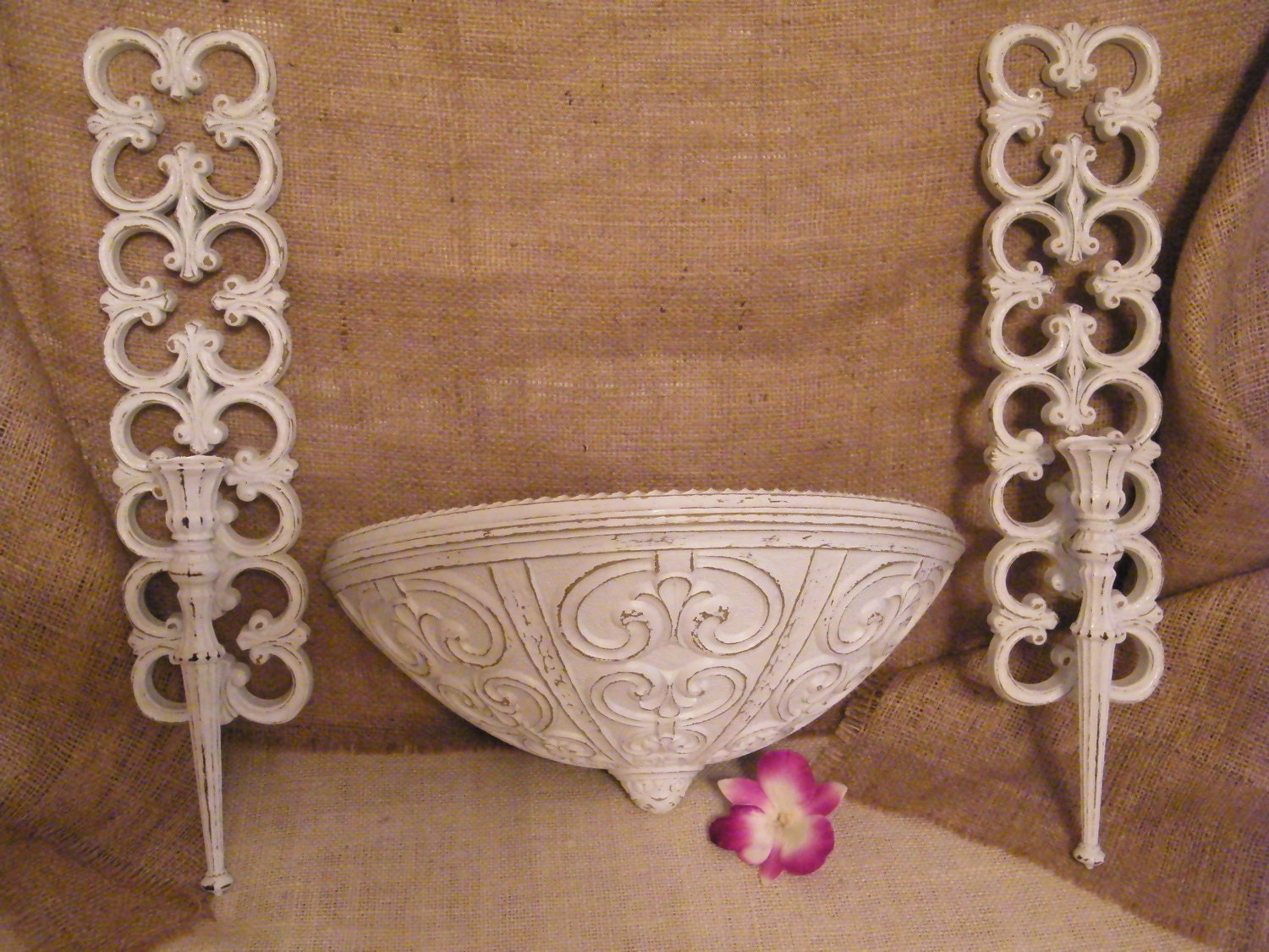 White Shabby Chic Candle Sconce and Wall Pocket by MorrellDecor