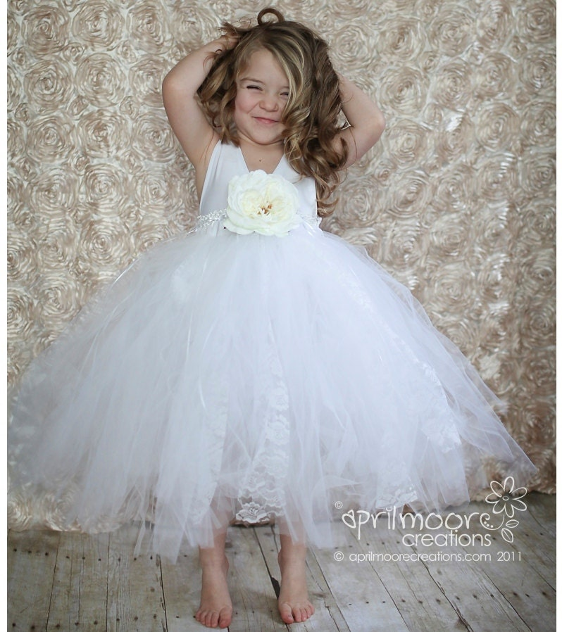 White Tulle Flower Girl Dress Size 1T To 5T By