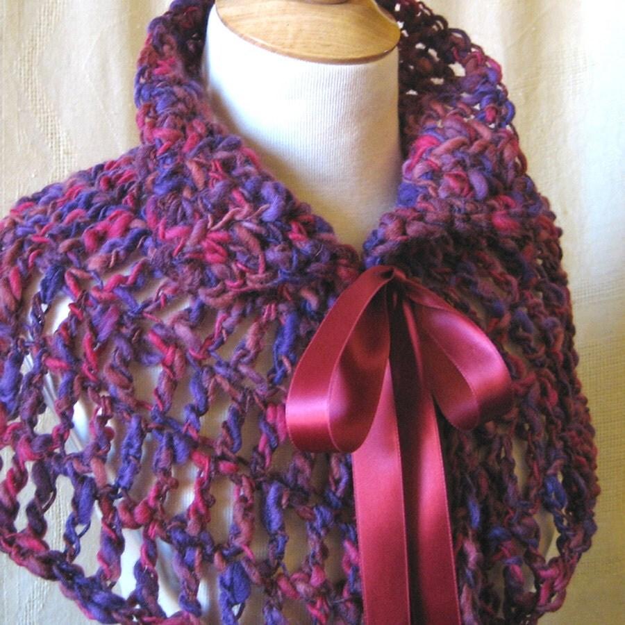 Purple Crochet Capelet Poncho - Victorian Violet Wool Lace