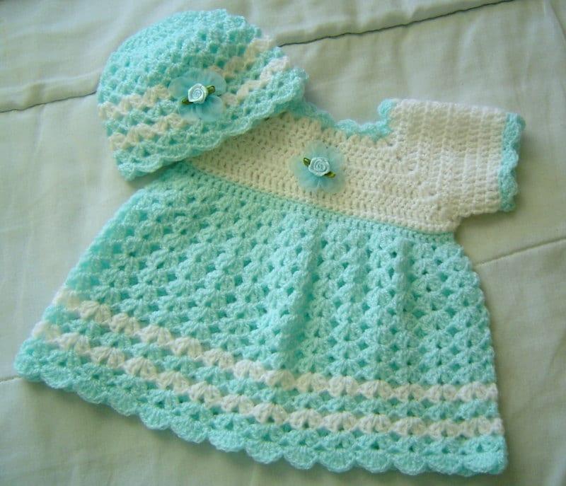 Beginner Crochet Dress Patterns : 0030B. Crochet Pattern Dress and Beanie Baby by CARUSSDESIGNZ