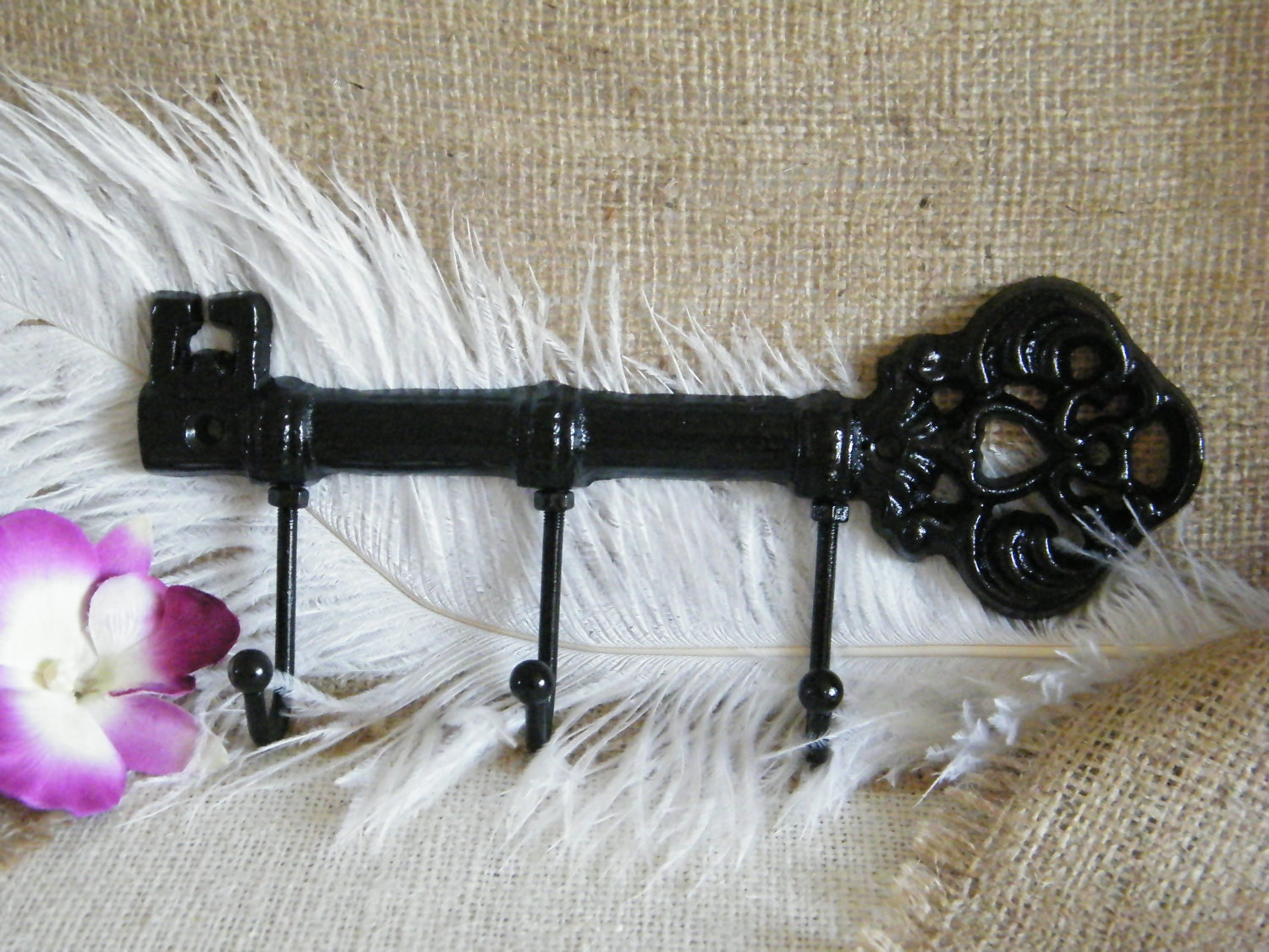 Wall Hook- Key Holder -Jewelry Holder- Black -Skeleton Key  Sophisticated and Chic -Cast Iron