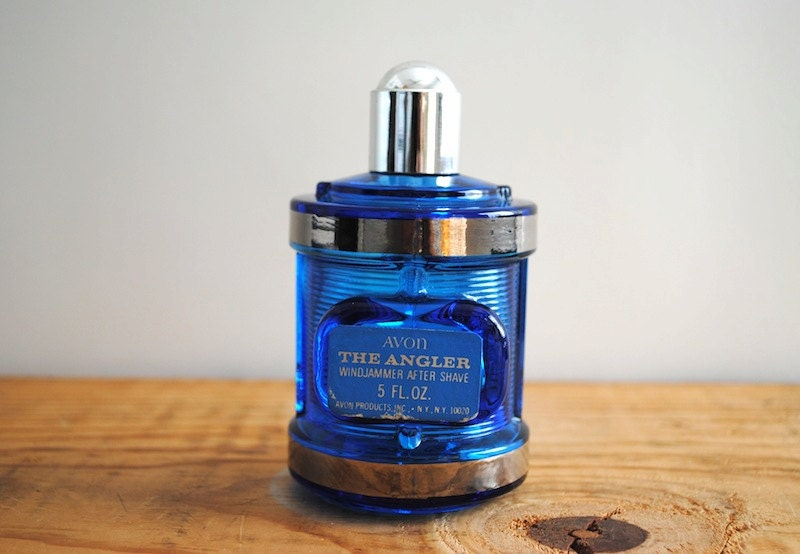 Vintage Cologne Perfume Bottle - The Angler by Avon Windjammer After Shave Blue Glass