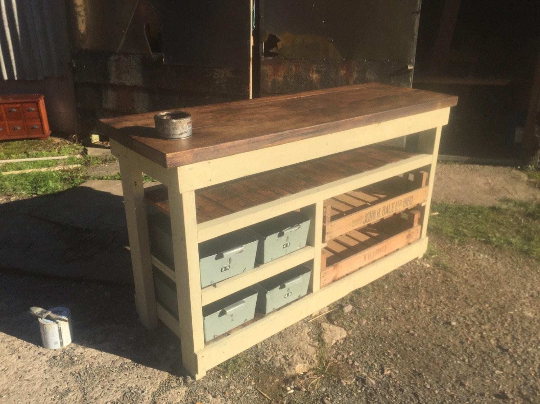 Kitchen larder unit kitchen island with vintage apple crates and metal trays