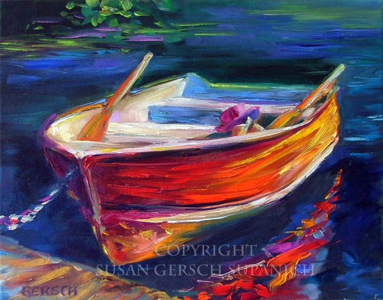 """Art Print  """"Reflection"""" colorful red boat painting 11 x 14 waterscape -  Susan Gersch Supanich"""