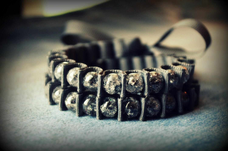 Sylvie Wrap Bracelet - Double Wrap Bracelet - Charcoal Gray and Black Ice