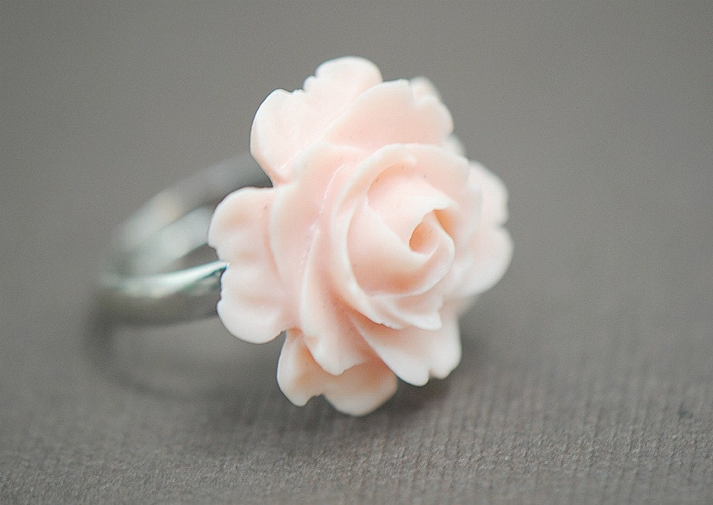 Vintage Inspired Ring - Ruffled Light Pink Delicate Rose on SILVER Base